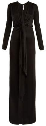 Givenchy Tie Front Deep V Neck Jersey Gown - Womens - Black