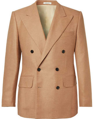 Husbands Tan Slim-Fit Double-Breasted Camel Hair, Virgin Wool And Silk-Blend Blazer