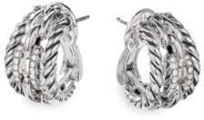 David Yurman Wellesley Link Sterling Silver& Pave Diamond Hoop Earrings