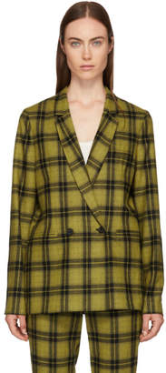 6397 Yellow Plaid Double-Breasted Blazer