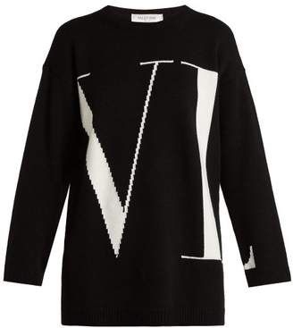 Valentino Vltn Intarsia Cashmere Sweater - Womens - Black White