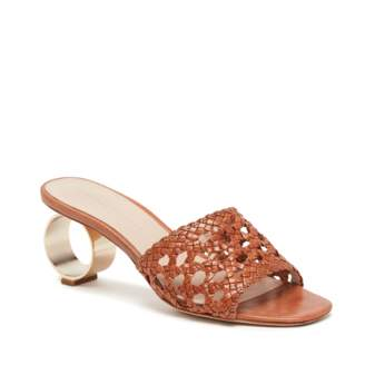Loeffler Randall Brette Woven Sandal With Metal Circle Heel