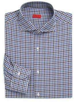 Isaia Classic-Fit Checked Dress Shirt