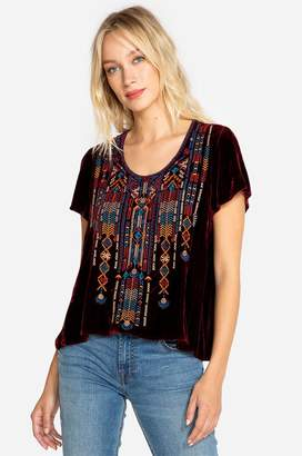 Johnny Was Cleo Velvet Flutter Sleeve Top