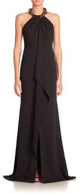 Carmen Marc Valvo Beaded Cascade-Front Gown