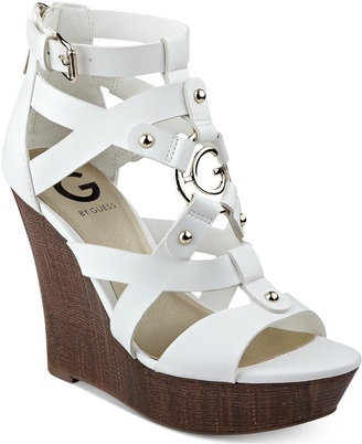 G by Guess Dodge Platform Wedge Sandals $59 thestylecure.com