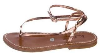 K Jacques St Tropez Metallic Leather Thong Sandals