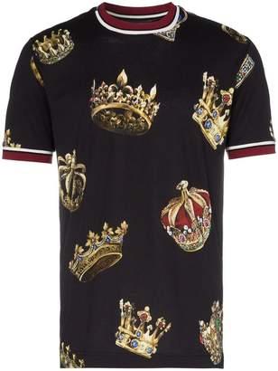 Dolce & Gabbana short sleeved crowns print T-shirt