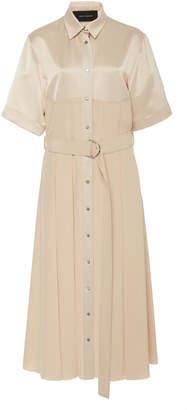 Cédric Charlier Belted Collared Satin Shirt Dress