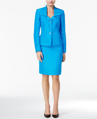 Le Suit Metallic Three-Button Skirt Suit $200 thestylecure.com