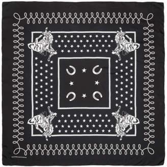 TAKAHIROMIYASHITA TheSoloist. Black and Navy Large Silk Scarf