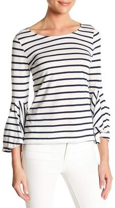 Susina Striped 3\u002F4 Length Ruffle Sleeve Tee (Regular & Petite)