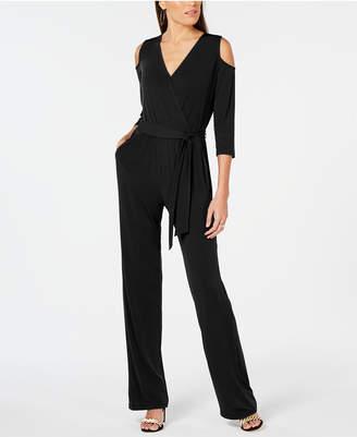 NY Collection Petite Cold-Shoulder Wide-Leg Jumpsuit