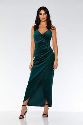 473039dbc09 Quiz Bottle Green Glitter Velvet Wrap Dress