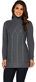 Susan Graver Cotton Acrylic Cable Sweaterwith Turtleneck