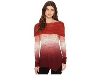 Tribal Long Sleeve Cowl Neck Space Dye Jersey Asymmetrical Top Women's Long Sleeve Pullover