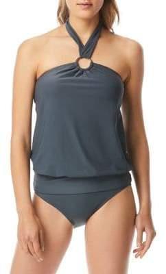 MICHAEL Michael Kors Iconic Solids One-Piece Logo Ring Blouson Swimsuit