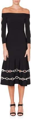 Alexander McQueen Off The Shoulder Cutout Knit Dress