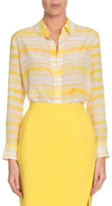 Altuzarra Chika Awning-Stripe Classic Silk Button-Down Shirt