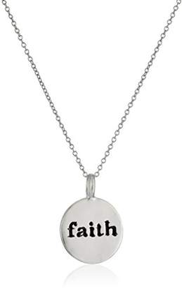 Sterling Silver Round Faith Pendant Necklace