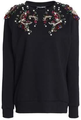 Dolce & Gabbana Embellished French Cotton-Terry Sweatshirt