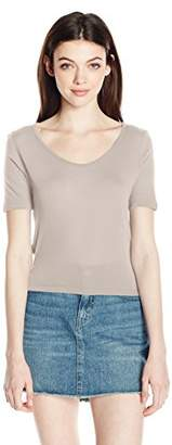 Comune Michelle By Junior's Fate-Pre Washed Short Sleeve Crop Top