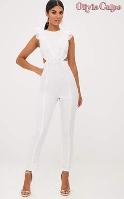 a9b166f4e17a5a PrettyLittleThing White Mesh Shoulder Cut Out Detail Jumpsuit