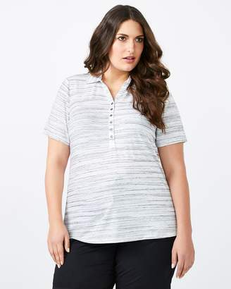 Curve Fit Striped Polo T-Shirt