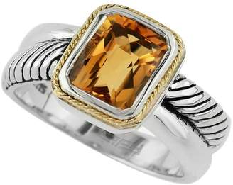 Effy Sterling Silver & 18K Gold Twist Band Citrine Ring - Size 7