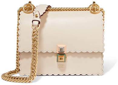 Fendi - Kan I Mini Scalloped Leather Shoulder Bag - Ivory
