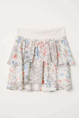H&M MAMA Patterned Flounced Skirt - Beige