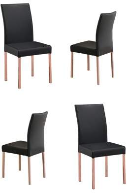 Pilaster Designs Leina Black Vinyl Contemporary Kitchen Dinette Dining Parsons Side Chairs With Rose Copper Metal (Set Of 4)