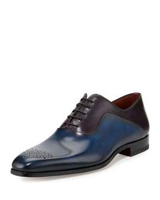 Magnanni for Neiman Marcus Two-Tone Medallion-Toe Oxford Shoe, Blue/Purple $475 thestylecure.com