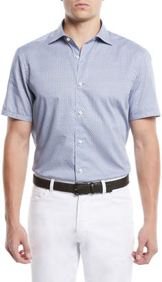 Ermenegildo Zegna Men's Medium-Check Short-Sleeve Sport Shirt