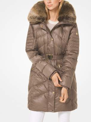MICHAEL Michael Kors Quilted Nylon and Faux Fur Puffer