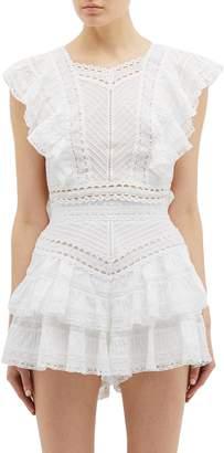 Zimmermann 'Heathers' ruffle lace side tie top