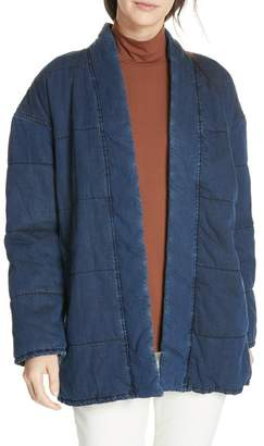 Eileen Fisher Slouchy Quilted Denim Jacket
