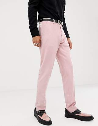 Asos DESIGN skinny suit pants in pink faux suede with western embroidery