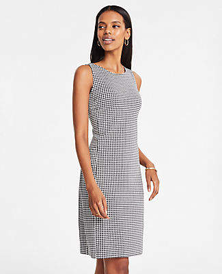 Ann Taylor Petite Houndstooth Ponte Pocket Shift Dress