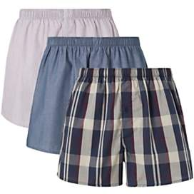 Bold Check Organic Cotton Boxers, Pack of 3, Blue/Multi