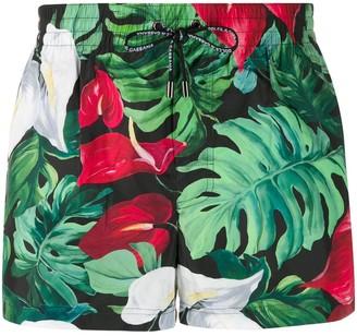 foliage print swim shorts