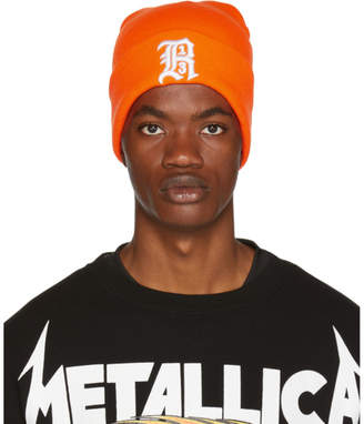 R 13 Orange Embroidered Logo Beanie