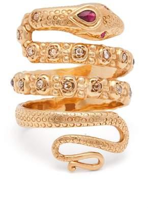 Jade Jagger 18kt gold, ruby & diamond snake ring