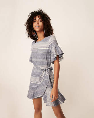 Express Striped Linen-Blend Flutter Sleeve Dress