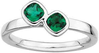 JCPenney FINE JEWELRY Personally Stackable Sterling Silver Lab-Created Emerald Ring