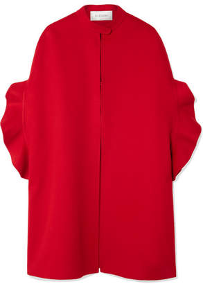 Valentino Ruffled Brushed Wool And Cashmere-blend Cape - Red