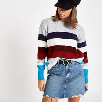 River Island Burgundy stripe crew neck knit sweater