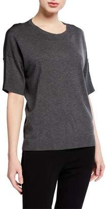 Eileen Fisher Crewneck Elbow-Sleeve Cozy Lyocell Sweater