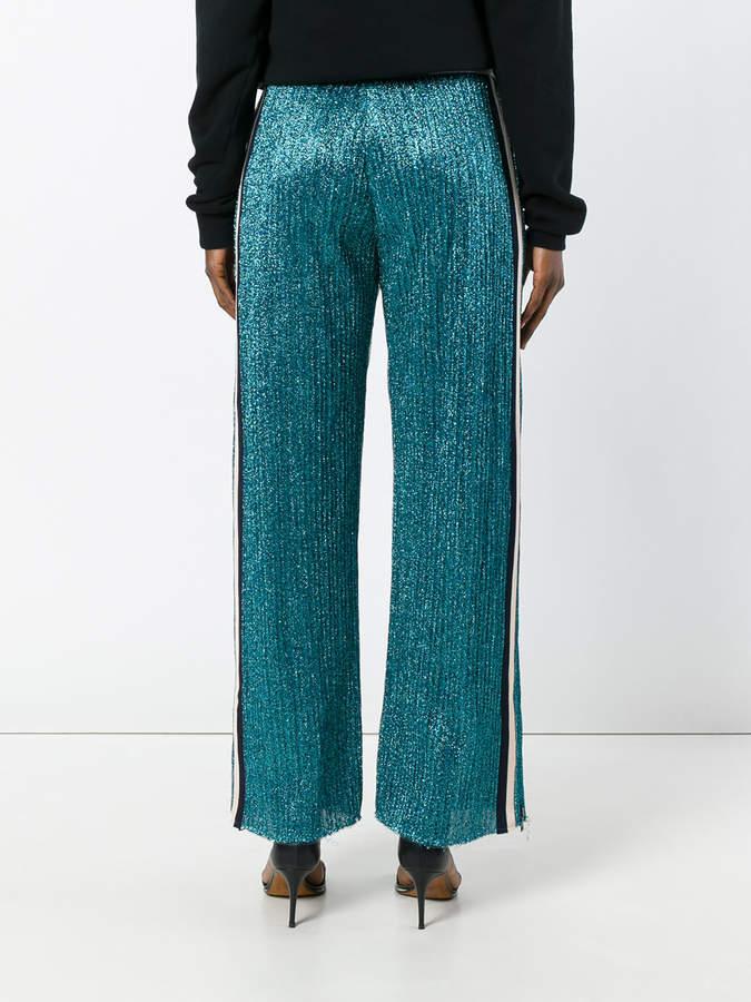 Aviu lurex side-stripe trousers