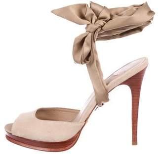 Diane von Furstenberg Suede Wrap-Around Sandals